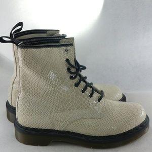 DR. MARTENS Hi Shine Suede Snake Print 1460W Boots